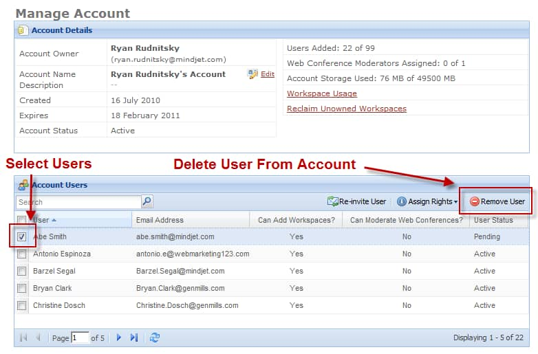 Delete Users From Account