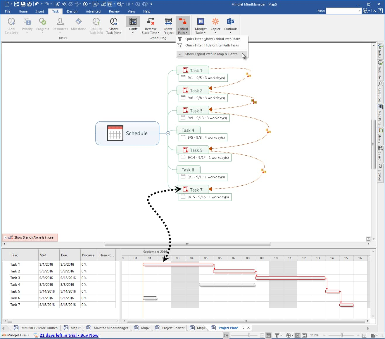 mindmanager Show Critical Path with Gant Chart