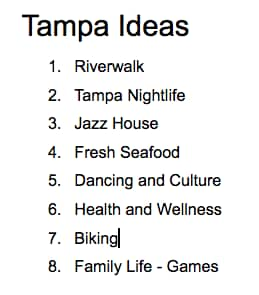 Susie's Tampa Ideas | List Form